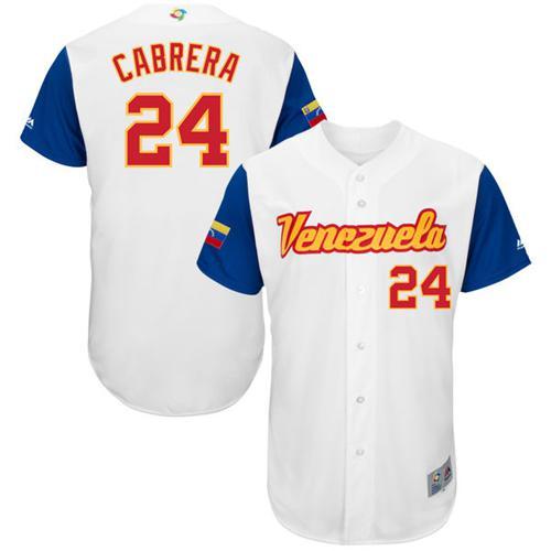 Team Venezuela #24 Miguel Cabrera White 2017 World MLB Classic Authentic Stitched MLB Jersey