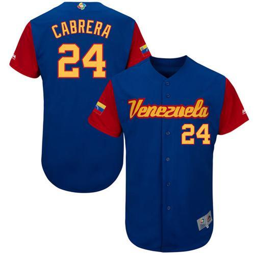 Team Venezuela #24 Miguel Cabrera Royal 2017 World MLB Classic Authentic Stitched MLB Jersey