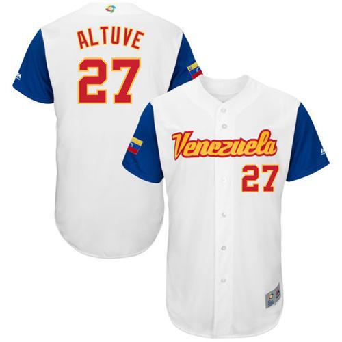 Team Venezuela #27 Jose Altuve White 2017 World MLB Classic Authentic Stitched MLB Jersey