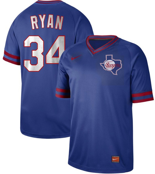 Nike Rangers #34 Nolan Ryan Royal Authentic Cooperstown Collection Stitched MLB Jersey