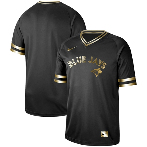 Nike Blue Jays Blank Black Gold Authentic Stitched MLB Jersey