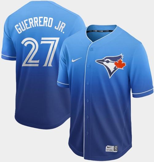 Nike Blue Jays #27 Vladimir Guerrero Jr. Royal Fade Authentic Stitched MLB Jersey