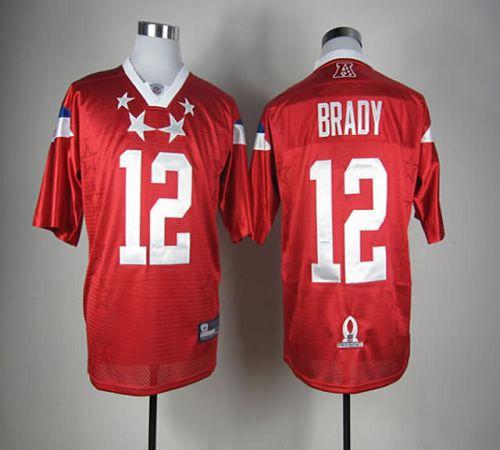 Patriots #12 Tom Brady Red 2012 Pro Bowl Stitched NFL Jersey