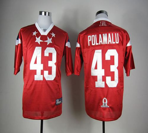Steelers #43 Troy Polamalu Red 2012 Pro Bowl Stitched NFL Jersey