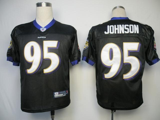 Ravens #95 Jarret Johnson Black Stitched NFL Jersey
