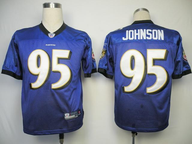Ravens #95 Jarret Johnson Purple Stitched NFL Jersey