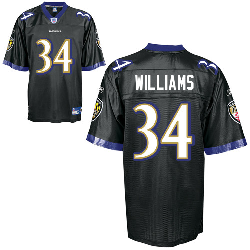 Ravens #34 Ricky Williams Black Stitched NFL Jersey