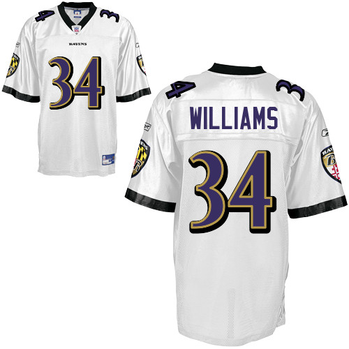 Ravens #34 Ricky Williams White Stitched NFL Jersey