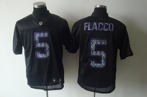 Sideline Black United Ravens #5 Joe Flacco Black Stitched NFL Jersey