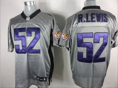Ravens #52 Ray Lewis Grey Shadow Stitched NFL Jersey