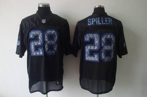 Sideline Black United Bills #28 C.J. Spiller Black Stitched NFL Jersey