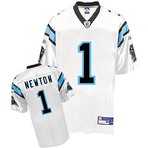 Panthers #1 Cam Newton White Stitched NFL Jersey