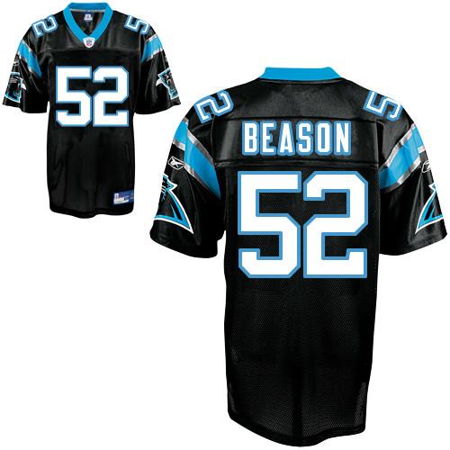 Panthers #52 Jon Beason Black Stitched NFL Jersey
