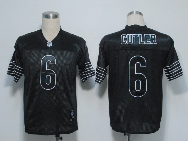 Bears #6 Jay Cutler Black Shadow Stitched NFL Jersey