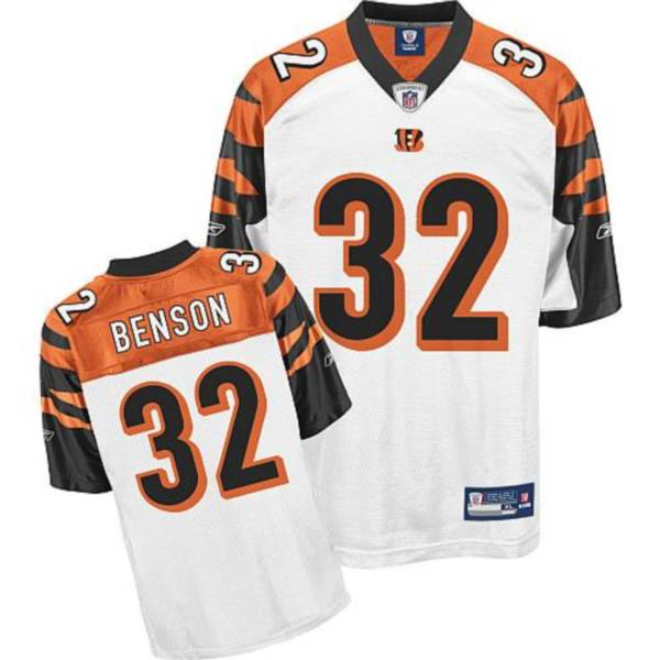 Bengals #32 Cedric Benson White Stitched NFL Jersey