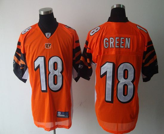 Bengals #18 A.J. Green Orange Stitched NFL Jersey