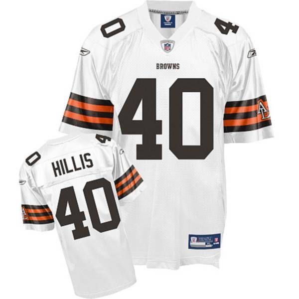 Browns #40 Peyton Hillis White Stitched NFL Jersey