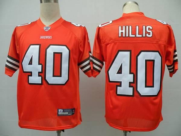 Browns #40 Peyton Hillis Orange Stitched NFL Jersey