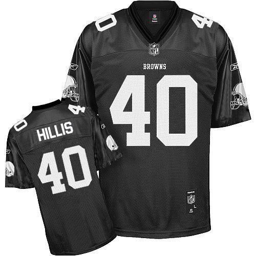 Browns #40 Peyton Hillis Black Shadow Stitched NFL Jersey