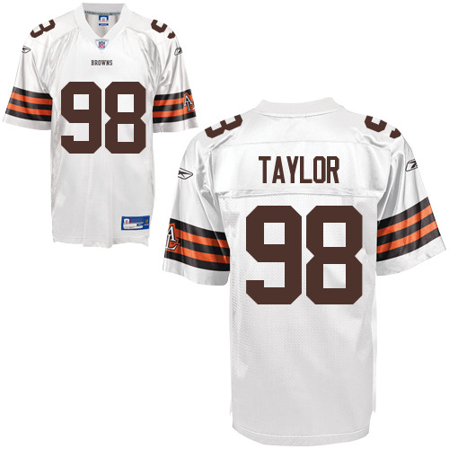 Browns #98 Phil Taylor White Stitched NFL Jersey