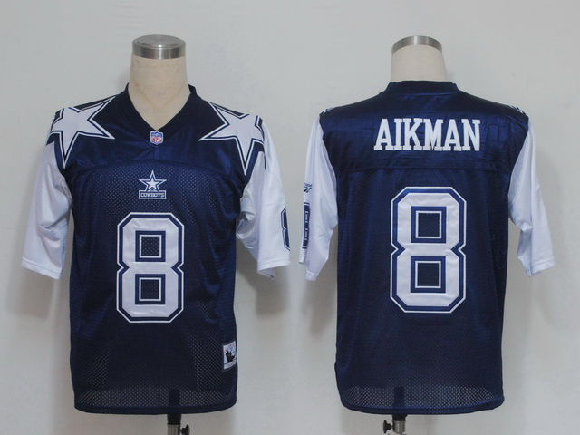 Mitchell & Ness Cowboys #8 Troy Aikma Deion Sanders Blue/White Stitched Throwback NFL Jersey