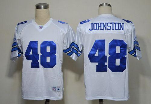 Cowboys #48 Daryl Johnston White Legend Throwback Stitched NFL Jersey