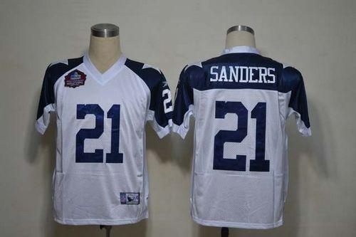 Cowboys #21 Deion Sanders White Thanksgiving Stitched NFL Jersey