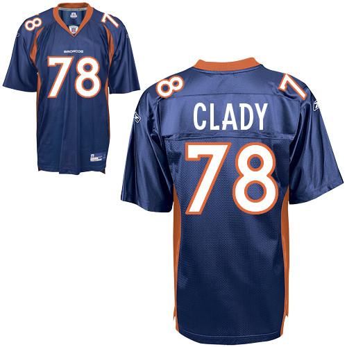 Broncos #78 Ryan Clady Blue Stitched NFL Jersey