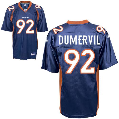 Broncos #92 Elvis Dumervil Blue Stitched NFL Jersey