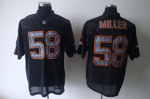 Broncos #58 Von Miller Black Sideline United Stitched NFL Jersey