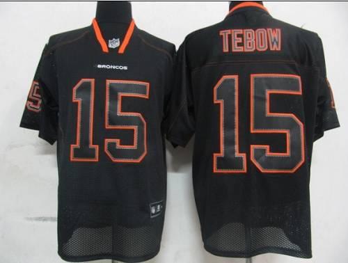 Broncos #15 Tim Tebow Lights Out Black Stitched NFL Jersey