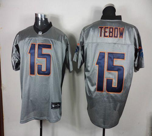 Broncos #15 Tim Tebow Grey Shadow Stitched NFL Jersey