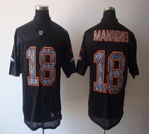 Sideline Black United Broncos #18 Peyton Manning Black Stitched NFL Jersey