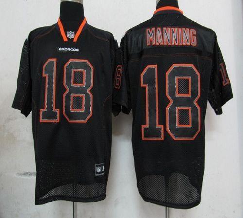 Broncos #18 Peyton Manning Lights Out Black Stitched NFL Jersey