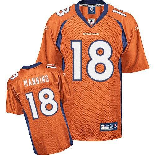 Broncos #18 Peyton Manning Orange Stitched NFL Jersey
