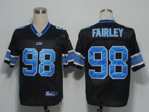 Lions #98 Nick Fairley Black Stitched NFL Jersey