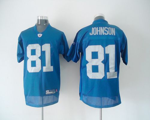 Lions #81 Calvin Johnson Blue Stitched Throwback NFL Jersey
