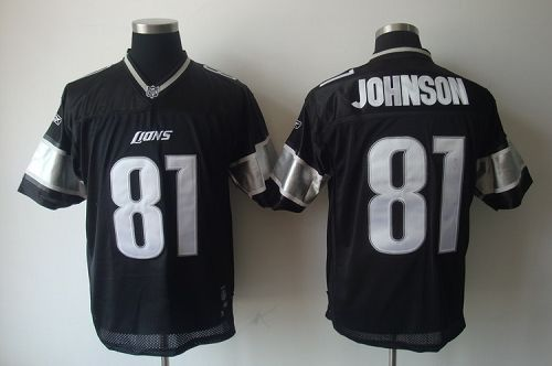 Lions #81 Calvin Johnson Black Shadow Stitched NFL Jersey