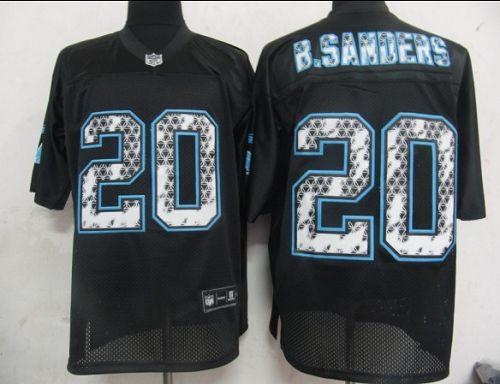 Sideline Black United Lions #20 Barry Sanders Black Stitched NFL Jersey