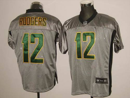 Packers #12 Aaron Rodgers Grey Shadow Stitched NFL Jersey