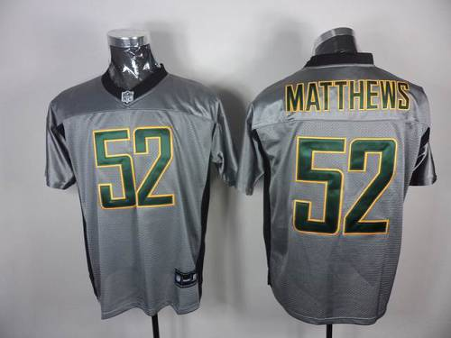 Packers #52 Clay Matthews Grey Shadow Stitched NFL Jersey