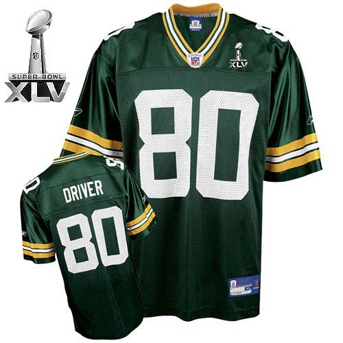 Packers #80 Donald Driver Green Super Bowl XLV Embroidered NFL Jersey