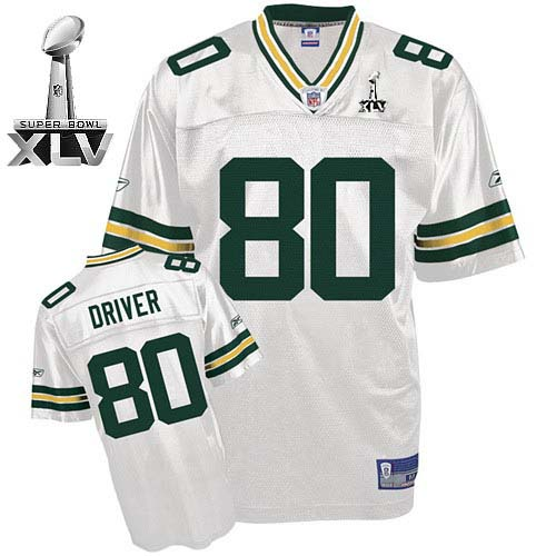 Packers #80 Donald Driver White Super Bowl XLV Embroidered NFL Jersey
