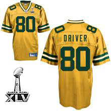 Packers #80 Donald Driver Yellow Super Bowl XLV Embroidered NFL Jersey