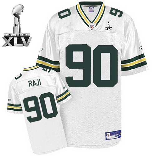 Packers #90 B.J. Raji White Super Bowl XLV Embroidered NFL Jersey