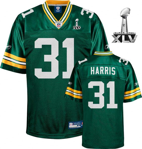Packers Al Harris #31 Green Super Bowl XLV Embroidered NFL Jersey