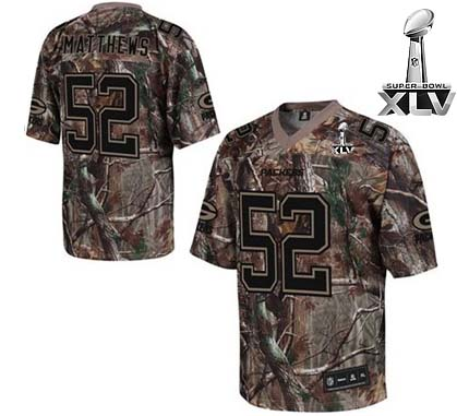 Packers #52 Clay Matthews Camouflage Realtree Super Bowl XLV Embroidered NFL Jersey