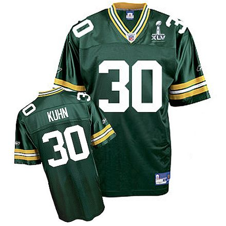 Packers #30 John Kuhn Green Super Bowl XLV Embroidered NFL Jersey