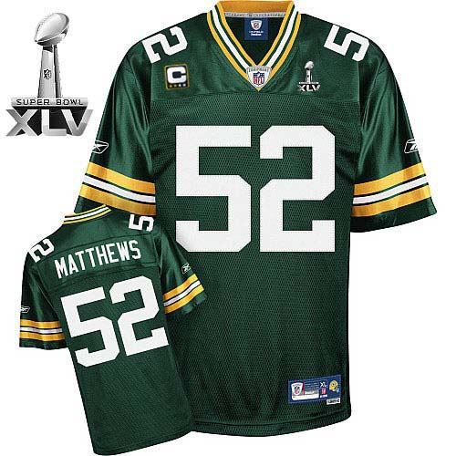 Packers #52 Clay Matthews Green With Super Bowl XLV and C patch Embroidered NFL Jersey