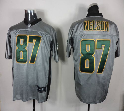 Packers #87 Jordy Nelson Grey Shadow Embroidered NFL Jersey